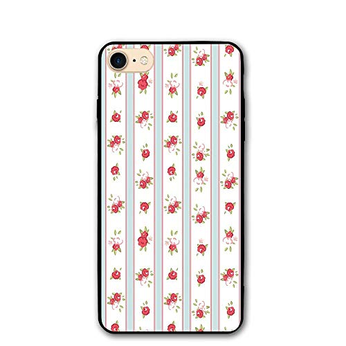 Haixia iPhone 7/8 Cover Case 4.7 Inch Shabby Chic Decor Vertical Borders Cute Rose Blossoms Cottage Country Home Decorative Baby Blue Dark Coral -