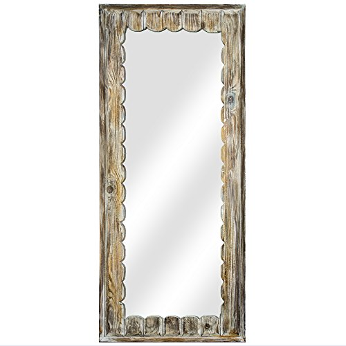"""American Art Decor Rustic Scalloped Whitewashed Wood Vanity Wall Accent Farmhouse Mirror (53"""" H x 23.5"""" L x 1.25"""" -"""