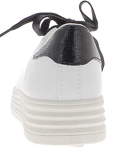 Baskets ville femme blanches avec inserts noirs croco et semelle blanche à talons compensés