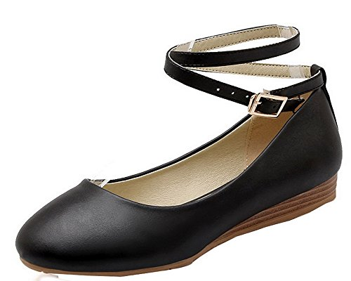 VogueZone009 Women's Low-Heels Solid Buckle Upper Leather Round-Toe Pumps-Shoes Black cE8zX