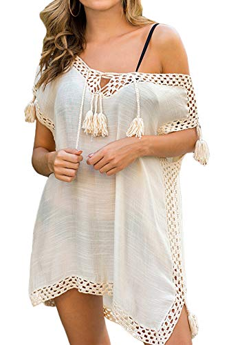 Adisputent Cover Ups for Swimwear Women Cotton Chiffon Shirts Dress Mesh Lace Beach Cover Loose Swim Bikini Bathing Suits Cov