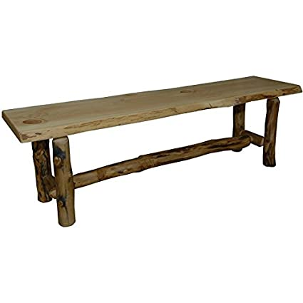 Excellent Amazon Com Rustic Aspen Log Dining Hall Bench 96 Squirreltailoven Fun Painted Chair Ideas Images Squirreltailovenorg