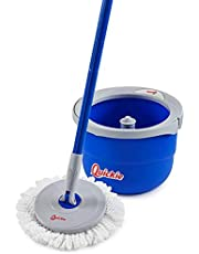 Quickie 2052228 Microfiber Compact Spin Mop & Wringing Bucket Floor Cleaning System, Gray