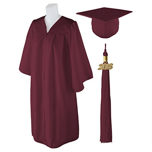 Class Act Graduation Standard Matte Graduation Cap and Gown With Matching 2018 Tassel - Burgundy - Size 5'6