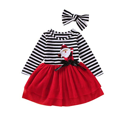 Mini honey 2PCS Toddler Baby Girl Christmas Dress Cotton Long Sleeve Santa Prints Christmas Princess Tutu Dress+Headband Christmas Party Outfits (3-4 T, R) Red (For Toddlers Christmas Outfit)