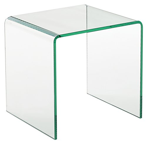Creative Images International Glass Collection Bent Glass Square End Table  Clear
