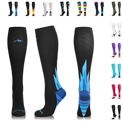 NEWZILL Compression Socks (20-30mmHg) for Men & Women - Best Stockings for Running, Medical, Athletic, Edema, Diabetic, Varicose Veins, Travel, Pregnancy, Shin Splints. (i-Ice, Small) (Trans Pacific Flight)
