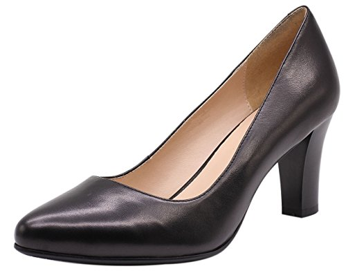 JARO VEGA Women's Soft Goatskin Genuine Leather Pumps Slender Block Heel Closed Almond Toe Dress Shoes Black Size 8 Almond Toe Pump