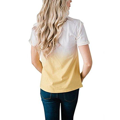 SANFASHION Bailarinas de Damen Mujer Amarillo Poliéster SANFASHION Multicolor Para Multicolor Bekleidung Shirt155 xqRXRpI