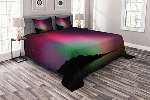 Bedding Full Duvet Cover Set Aurora Borealis 3 Piece Set (1 Duvet Cover + 2 Pillow Shams) Northern Natural Occurrence Colorful Weather in Mountain Region AntarcticComforter Cover with 4 Ties color