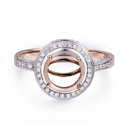 Lanmi 14K Rose Gold Women's Engagement Bridal Round Cut 9mm Natural Diamond Semi Mount Ring Set
