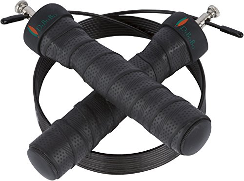 DiBoBo Premium Quality Jump Rope for Home Exercise or Gym Fitness - High-Speed Cardio for MMA, Boxing and Athletic Training - Adjustable Length, Anti-Tangle, Anti-Kink (Black)