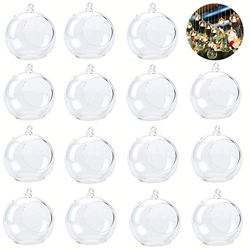 15-Pack Acrylic Hanging Globe, Air Plant and Tillandsia Holder, Micro Landscape Holder, Container, Indoor Outdoor Hangers for Plant, Wedding Decorations and Display (Supplied with Fishing -