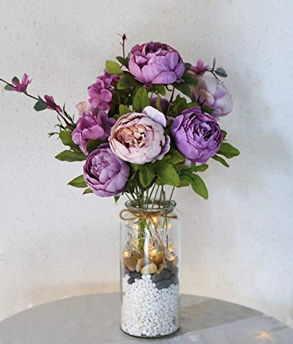 - Veryhome Artificial Silk Peony Bouquets Wedding Home Decoration,Pack of 1 (New Purple)