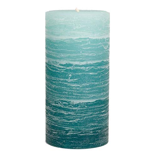 """Nordic Candle - Rustic Pillar Candle - 3x6"""" Teal Layered - Unscented"""