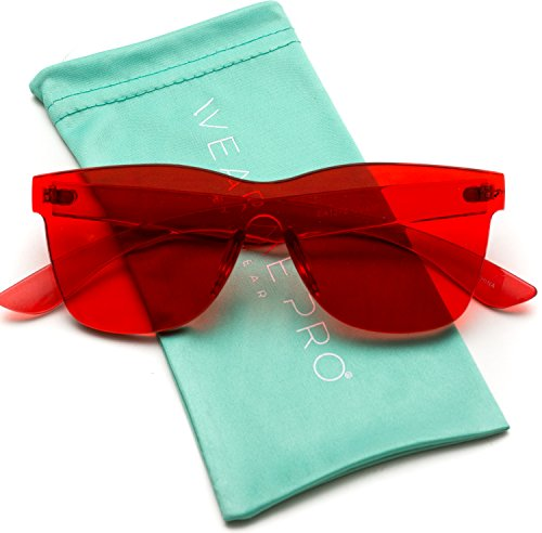 (WearMe Pro - Horn Rimmed Tinted Colorful Lens Rimless Sunglasses )
