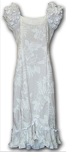 Long Muumuu - Pacific Legend White Wedding Long Hawaiian Muumuu Dress (XL)