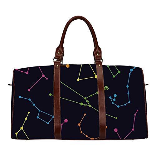 Constellation Exquisite Travel Bag,Colorful Astronomic Illustration Science Ursa Major Minor Polaris Celestial for College,18.62