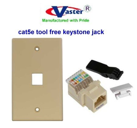(SuperEcable - 00156 - Cat5e Tool less Keystone Jack IVORY Color, with 1port Rj 45 Keystone Wall Plate, Ivory Color)