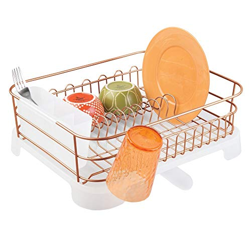 mDesign Large Kitchen Countertop, Sink Dish Drying Rack with Removable Cutlery Tray and Drainboard with Adjustable Swivel Spout - 3 Pieces, Copper Wire/Clear Plastic Cutlery Caddy and Drainboard