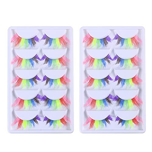 Amosfun 10 Pairs Fake Eyelashes Rainbow Long Lashes Extension Fancy Ball Makeup Accessories Halloween Carnival Masquerade Costume - Halloween Costumes]()