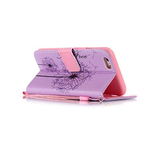 iphone 6s plus Coque Rabat,Kakashop Apple iphone 6 plus (5.5 pouces) Belle Colorée Painting Motif de pissenlit pourpre Flip Case Cover avec Fonction de debout et fentes pour cartes, Luxueux PU Cuir Ma