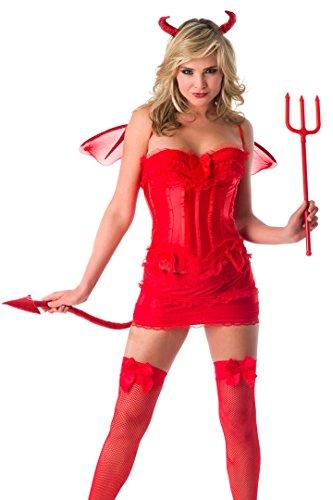 Velvet Kitten Devil Costume with Corset in Red - -