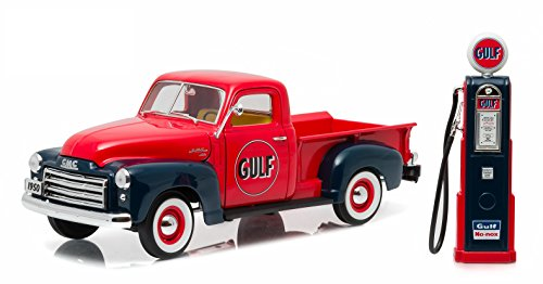 Greenlight 1950 Gmc 150 Gulf Oil Truck With Vintage Gulf Gas Pump  1 18 Scale  Vehicle