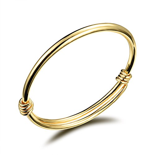 [Fate Love 18k Gold Plated Golden Baby Bangle Bracelet with Small Bells, Children Jewlery Gift] (Gold Adjustable Baby Bangles)