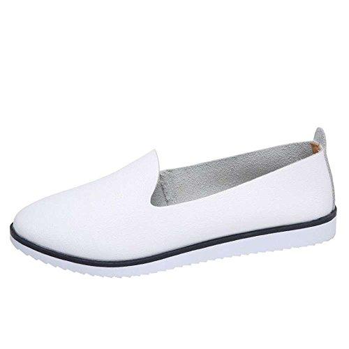 Casuales Flats Femeninas Perezoso de Verano oras Zapatos Zapatos de Shoes Se Zapatos Mocasines de Blanco Deslizamiento en Cuero Ballet Mujer QUICKLYLY Genuino Mujeres Owq6x5FUF