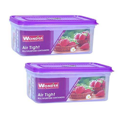 Wonder Plastic MPC Small Transparent Airtight Kitchen Container/Bread Box Set, 2 pc 2500ml, Purple Color, Made In India