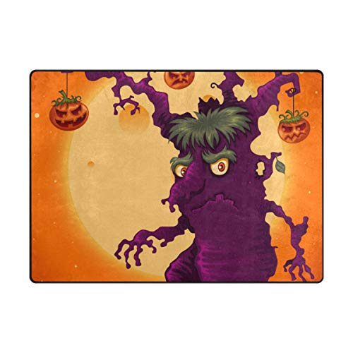 Top Carpenter Spooky Halloween Tree Area Rug Carpet 5x4 Light Weight Polyester for Living Bedroom -