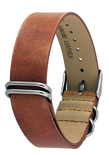 Rev ITAL208 18mm, 20mm, or 22mm Black, Camel, or Natural Brown Genuine Leather NATO Slip-Thru Replacement Strap (20 mm, Natural Brown)