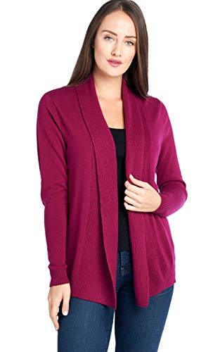% Cashmere Soft Long Sleeve Front Drape Open Cardigan (JB1677, Boysenberry, L) ()