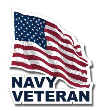 "US Navy Veteran w/ American Flag Decal Sticker 3.8"""
