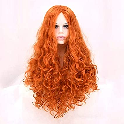 WMHF Peluca naranja ondulado medio peluca larga animación realista de la manera Cos peluca.