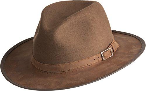 Overland Sheepskin Co Summit Wool Felt and Leather Safari Hat by Overland Sheepskin Co