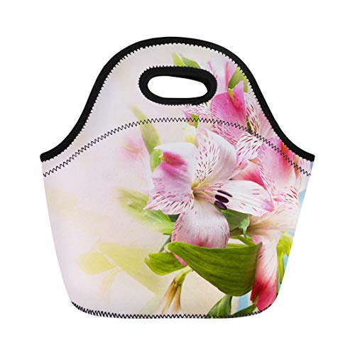 Semtomn Neoprene Lunch Tote Bag Pink Beauty Beautiful Flowers Alstroemeria Spring Floral Arrangement Lily Reusable Cooler Bags Insulated Thermal Picnic Handbag for Travel,School,Outdoors,Work