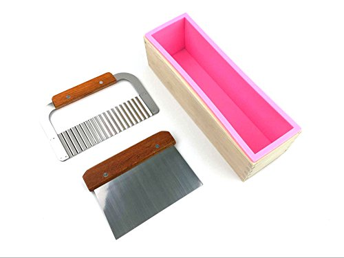 2 Pcs Stainless Steel Wavy+ Straight Soap Mold Loaf Garnish Cake Cutter Cutting Tool Home Kitchen Graters Peelers Slicers Knife Set+Wood Box HomemadeSoap Mold-Pink Cutter Mold