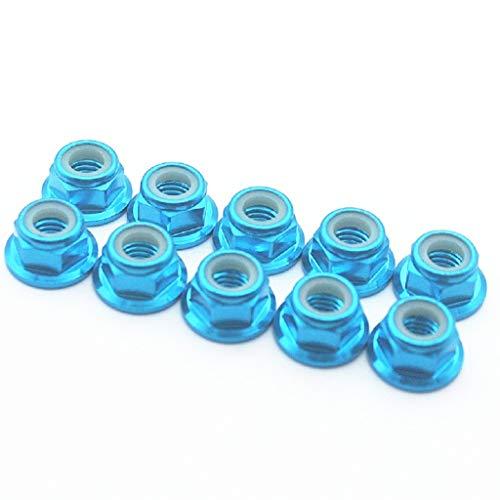 Flanged Aluminum Nut Lock (20 Pcs M2 Nuts Flanged Nylon Lock Nut Nylock Self-lock Aluminum Nuts (Blue))
