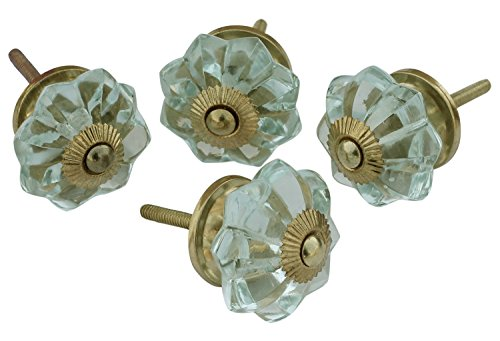 (AB Handicrafts - Set of 4 Glass Door Knobs- Interior Round Knobs and Pulls for Drawer Hardware Attached (Aqua)	 )