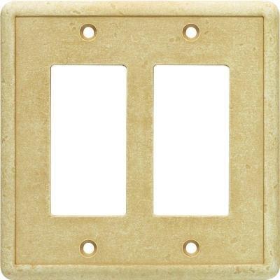 Cast Stone Switchplate - Weybridge Classic Cast Stone Double Rocker/Toggle Switch Wall Plate Sahara