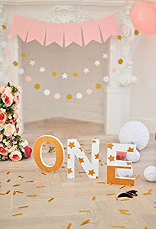 Amazoncom Ofila Baby Girl 1st Birthday Backdrop 3x5ft