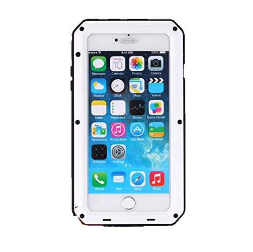 Iphone Silicone Case Screen Protector - iPhone 6 Case,iPhone 6s Case Amever Aluminum Metal Case with Silicone - Water Resistant Shockproof Heavy Duty Tempered Glass Screen Protector - Dual Layer Protective Case for iPhone 6 4.7 Inch