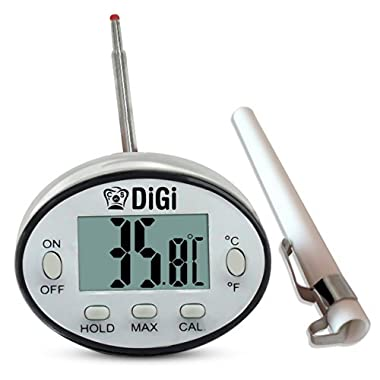 Digital Meat Thermometer with Instant Read - Thin Stainless Steel Probe for Cooking and Grilling Food To Perfection - Kitchen Candy and BBQ Internal Temperature Guide Plus Side Clip for Liquids.