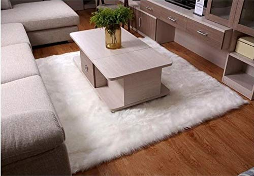 YONGAN Luxury Soft Faux Sheepskin Fur Area Rugs, Plush Sofa Cover Bedside Floor Mat Seat Pad of Bedroom, 4ft x 6ft (4' x 6'-White)