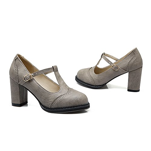 BalaMasa Girls quadrato tacchi a punta rotonda nappa pumps-shoes, Grigio (Gray), 38