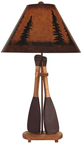 - Coast Lamp Stain/Red 2 Paddle Table lamp with Pine/Canoe Shade