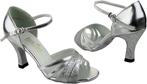 """Very Fine Dance Shoes 6030 Synthetic Silver Stardust Leather 3"""" Heel Size 10"""