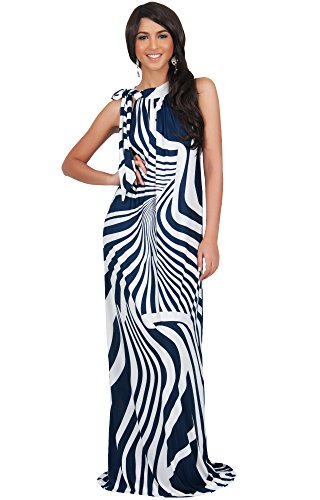 KOH KOH Womens Long Sleeveless Sexy Halter Neck Retro Print Flowy Maxi Dress